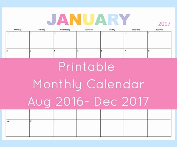 Calendar 2016 to Write On Elegant Printable Monthly Calendar 2016 and 2017 This Dated