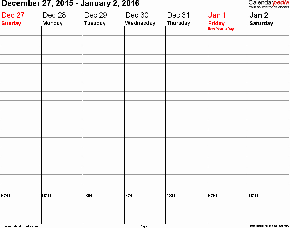 Calendar 2016 to Write On Elegant Printable Workweek Calendars 2016 You Can Write In