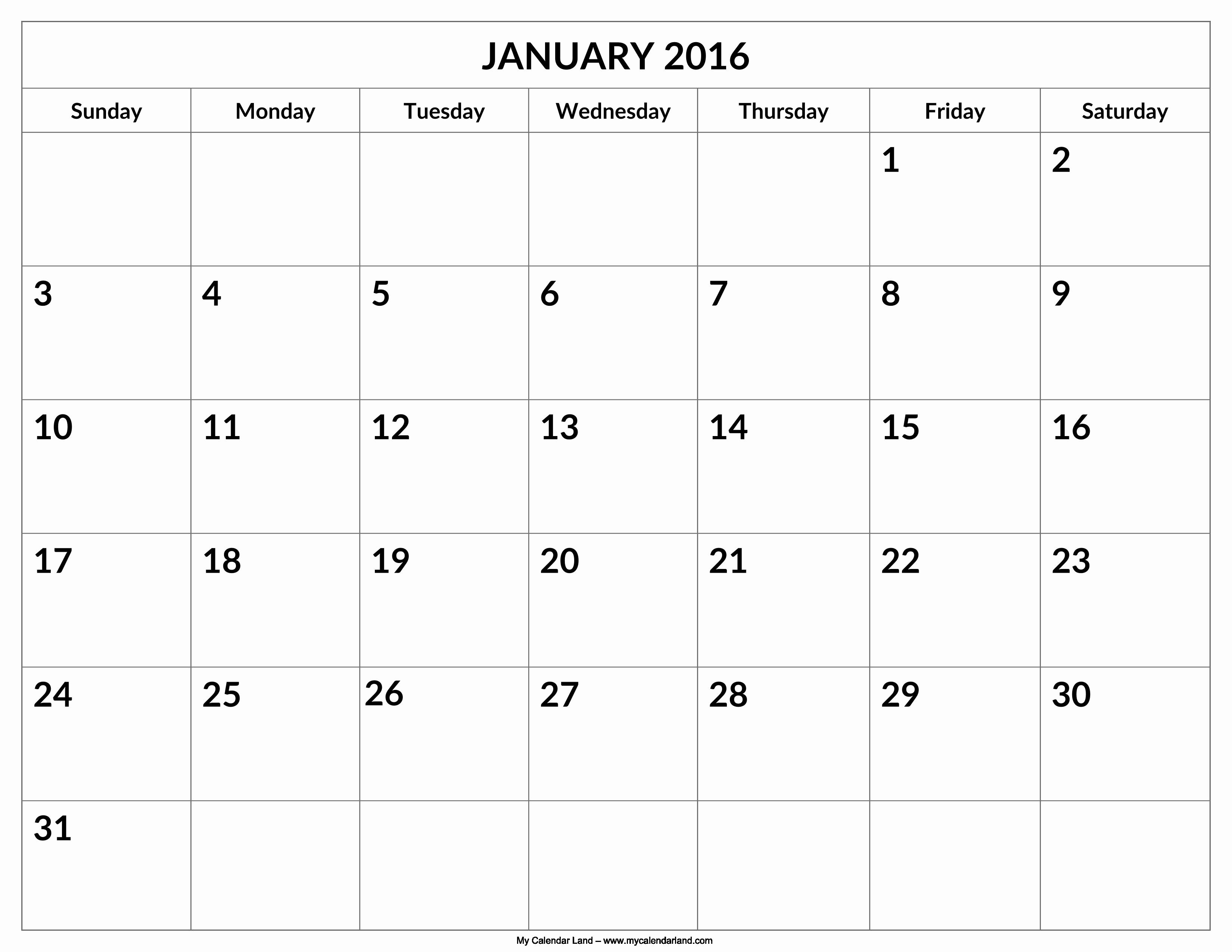 Calendar 2016 to Write On Fresh 2016 Calendar with Space to Write