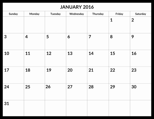 Calendar 2016 to Write On Fresh 2016 Calendar with Writing Space