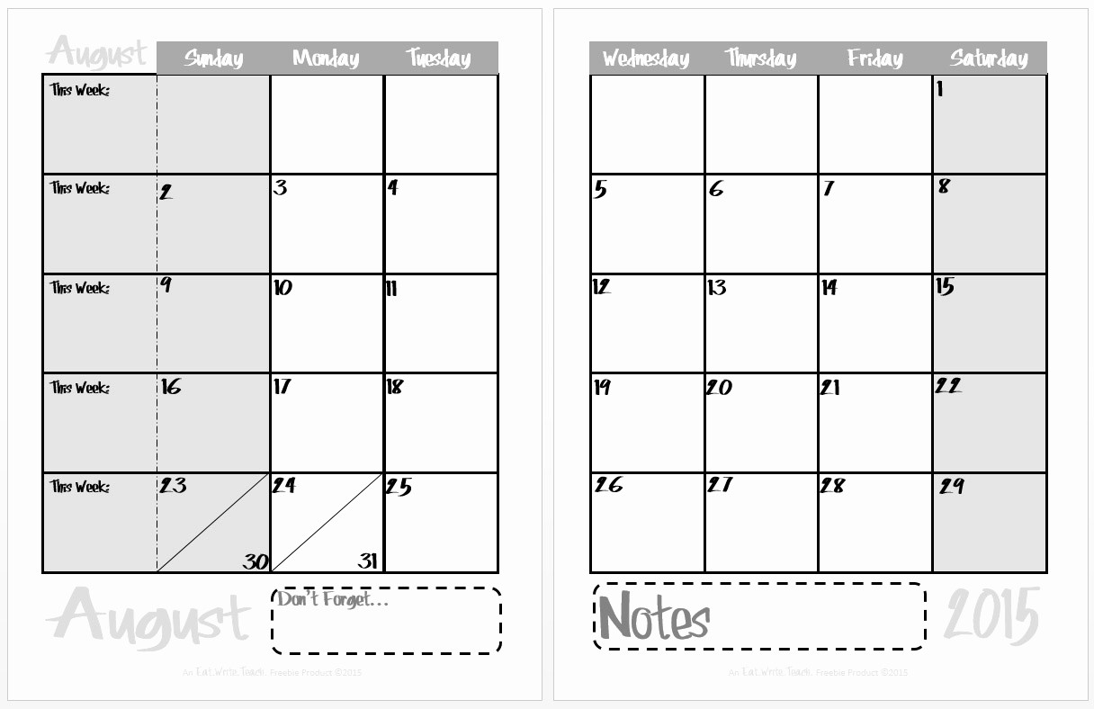 Calendar 2016 to Write On Fresh Eat Write Teach 2015 2016 Calendar is now Available