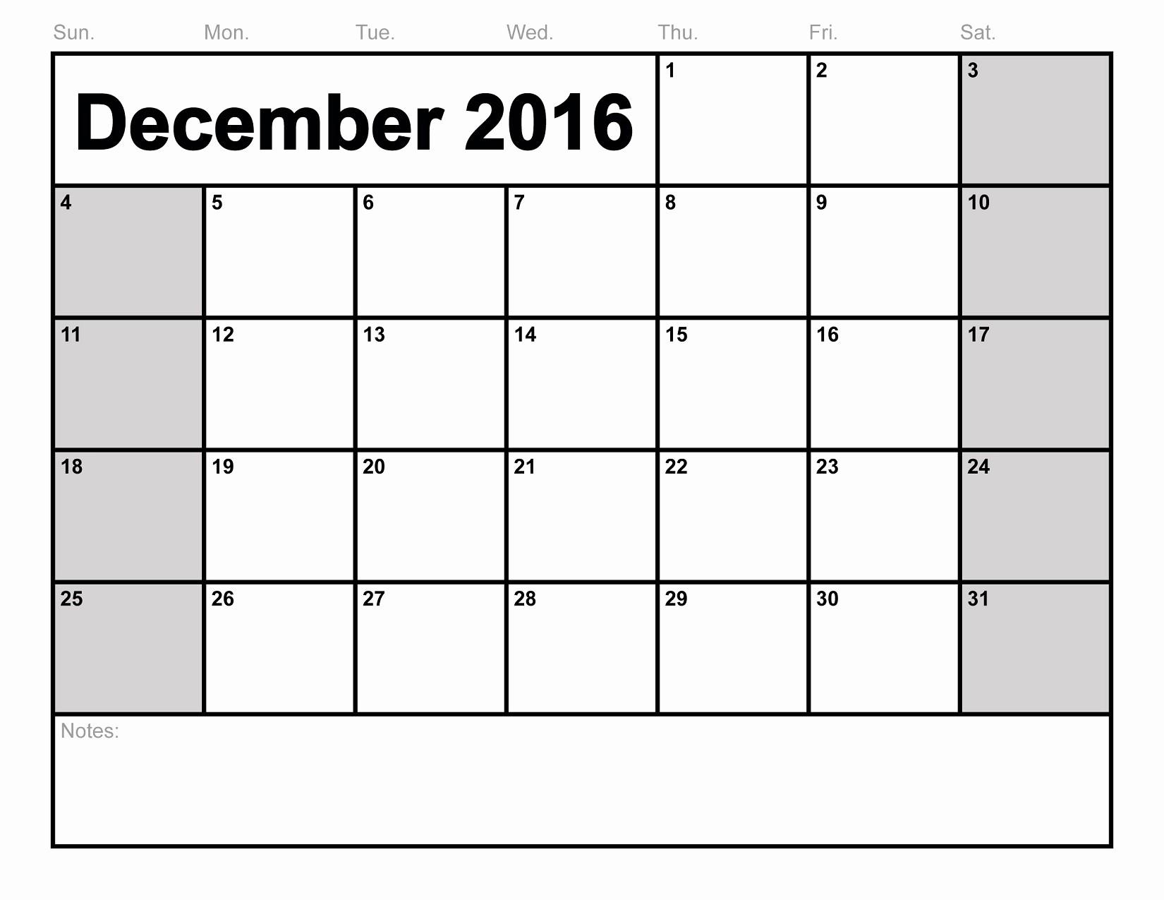 Calendar 2016 to Write On Inspirational December 2016 Calendar Printable Free