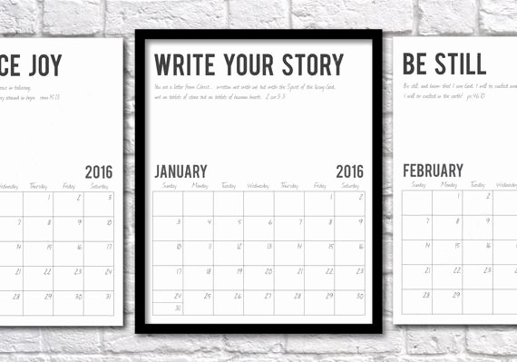 Calendar 2016 to Write On Lovely 2016 Monthly Calendar Write Your Story with by Printsoflife