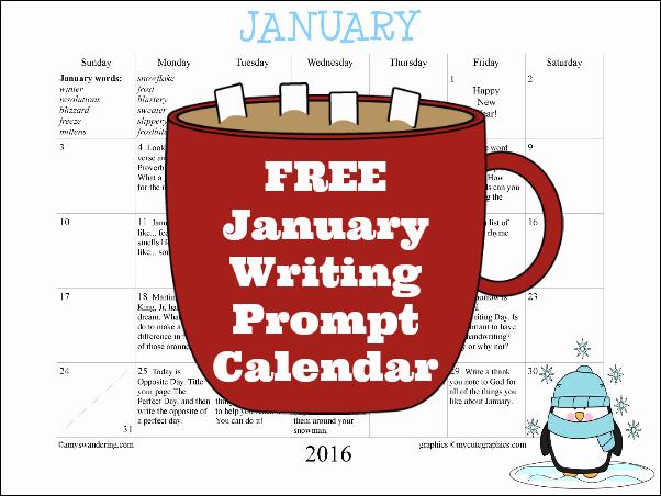 Calendar 2016 to Write On Luxury January Writing Prompt Calendar