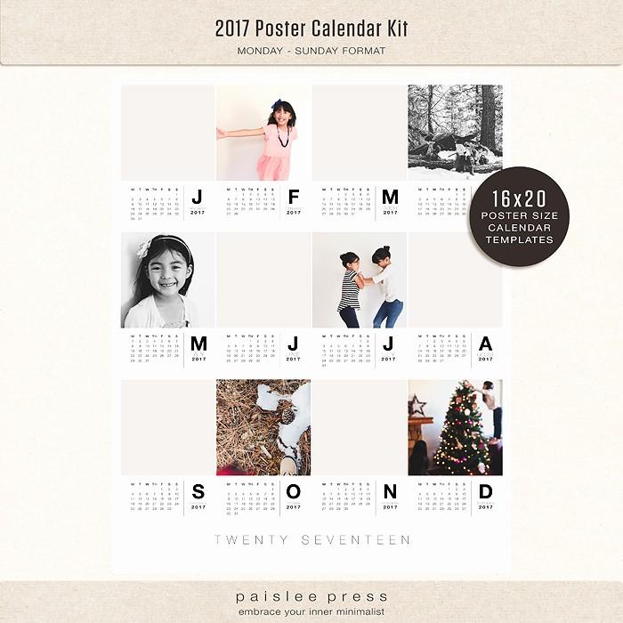 Calendar 2017 Monday to Sunday Elegant 2017 Poster Calendar 16x20