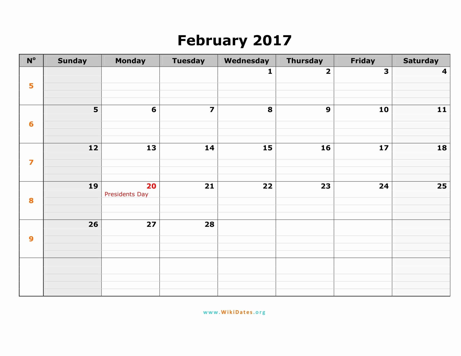 Calendar 2017 Monday to Sunday Elegant February 2017 Calendar