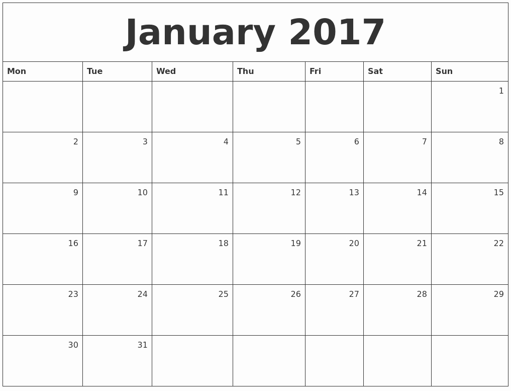 Calendar 2017 Monday to Sunday Fresh January 2017 Monthly Calendar