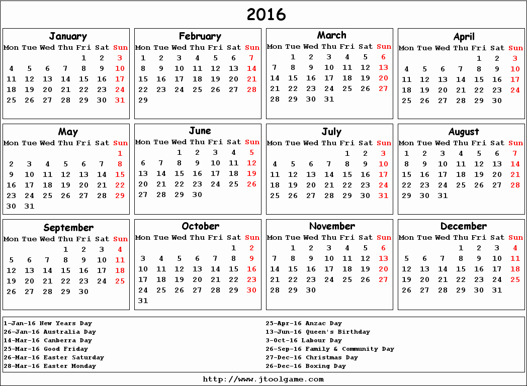 Calendar 2017 Monday to Sunday Luxury 2016 Calendar Monday to Sunday