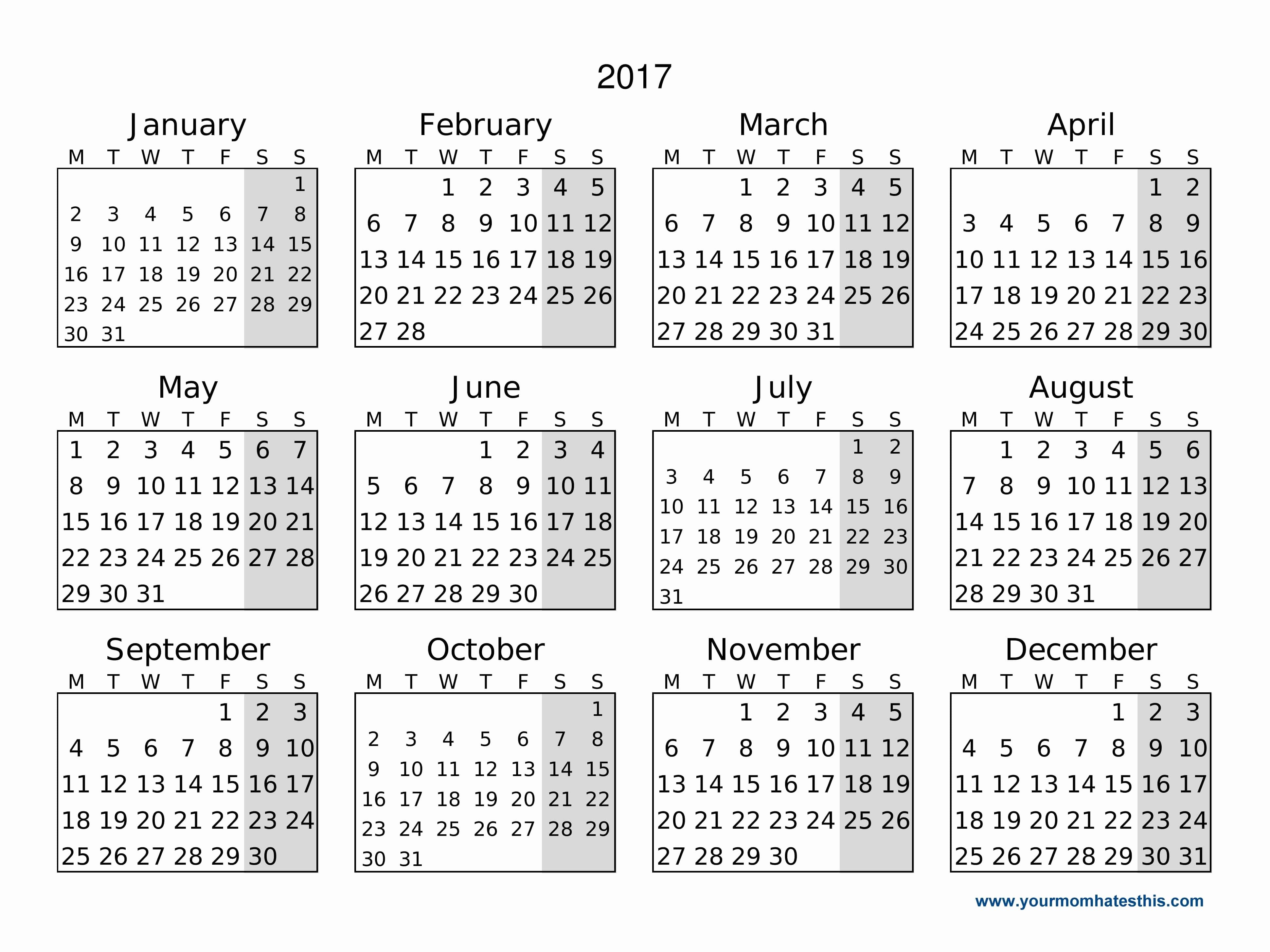 Calendar 2017 Monday to Sunday New 2017 Calendar Download