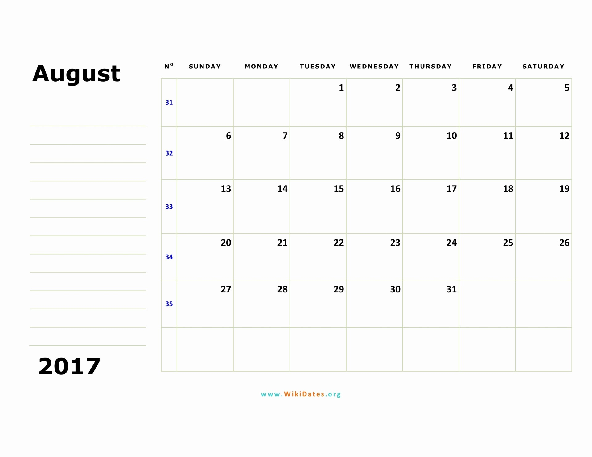 Calendar 2017 Monday to Sunday Unique August 2017 Calendar