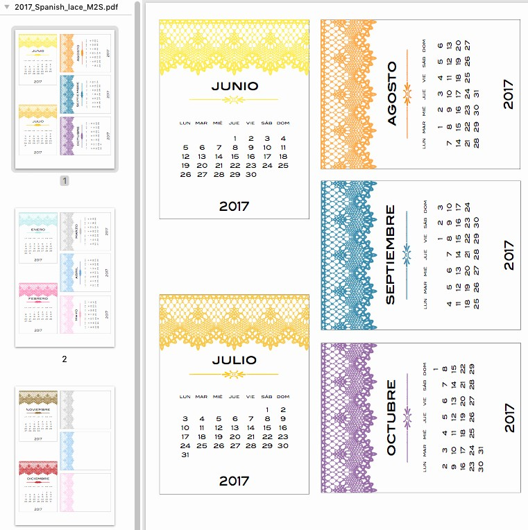 Calendar 2017 Monday to Sunday Unique for the Monday to Sunday Folk – 2017 Lace Calendar and