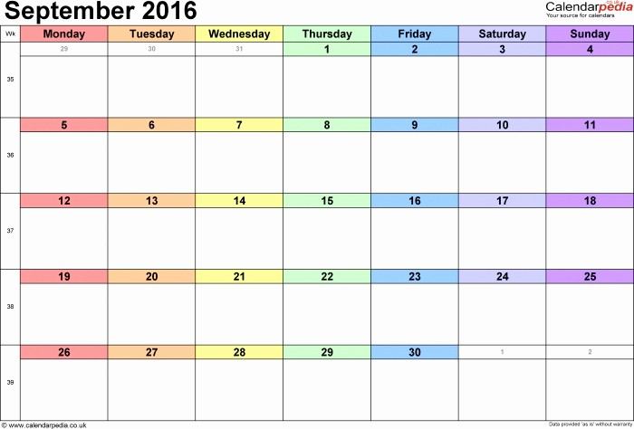 Calendar 2017 Monday to Sunday Unique September 2016 Calendar Monday Through Sunday
