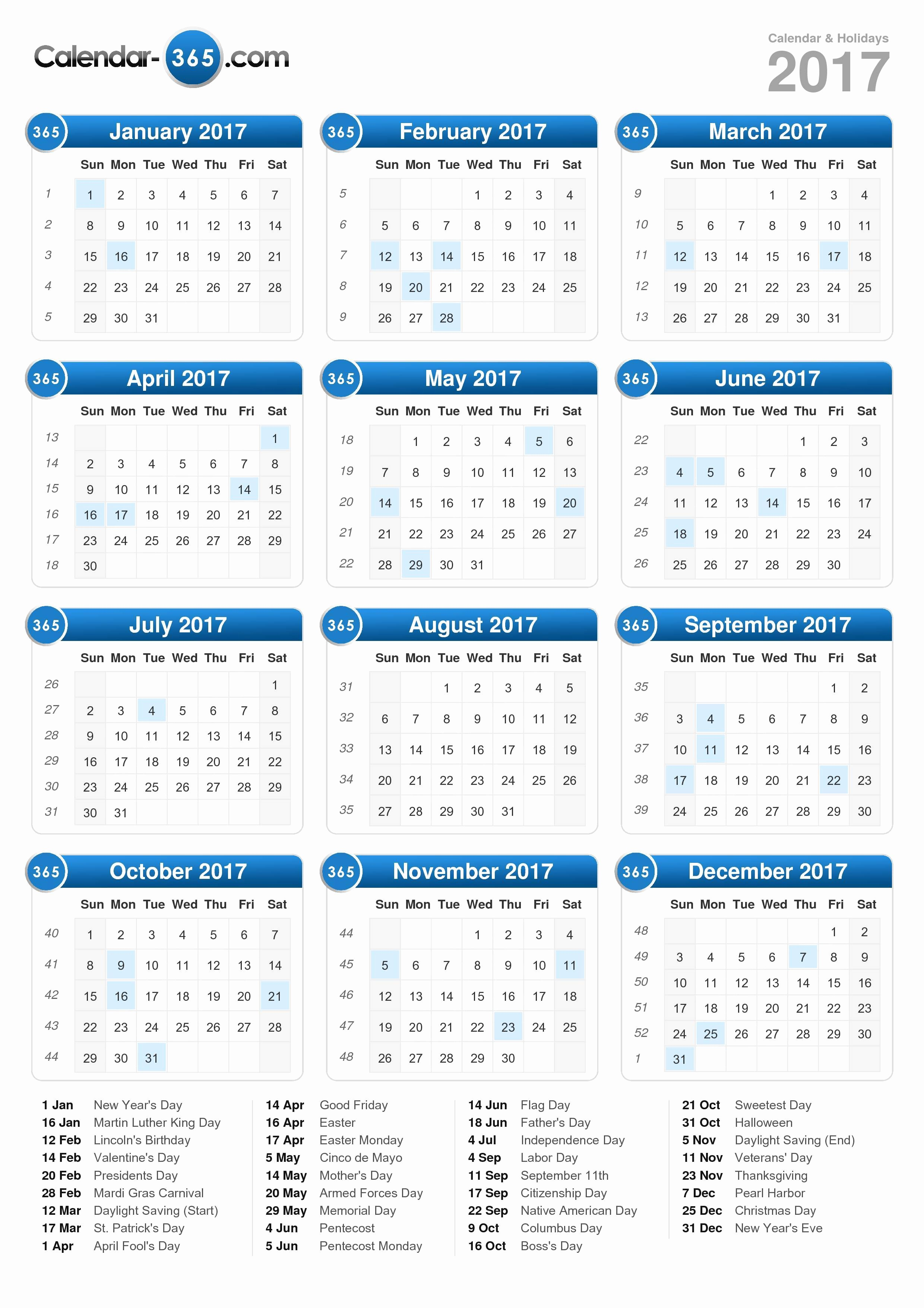 Calendar 2017 Template with Holidays Awesome 2017 Calendar