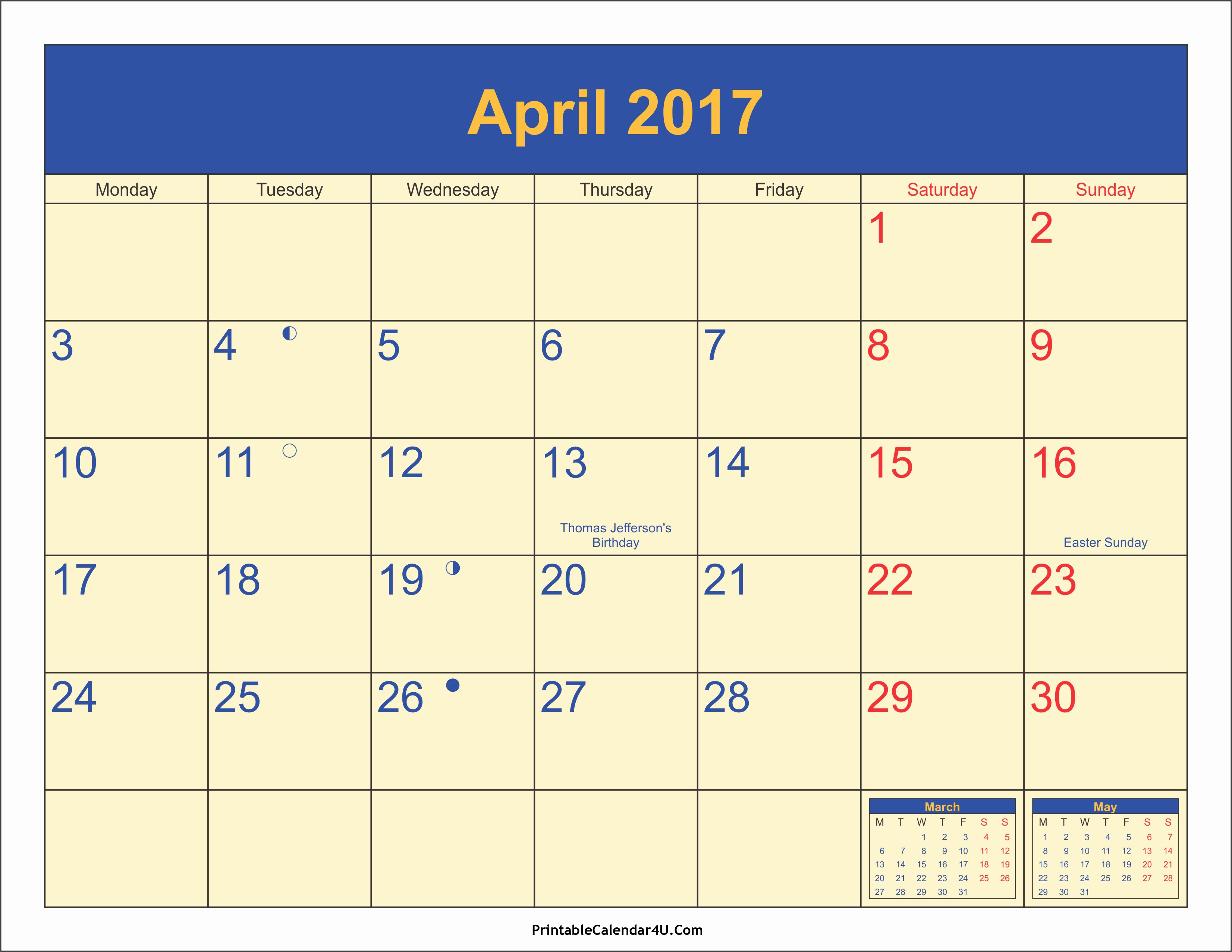Calendar 2017 Template with Holidays Awesome April 2017 Calendar with Holidays