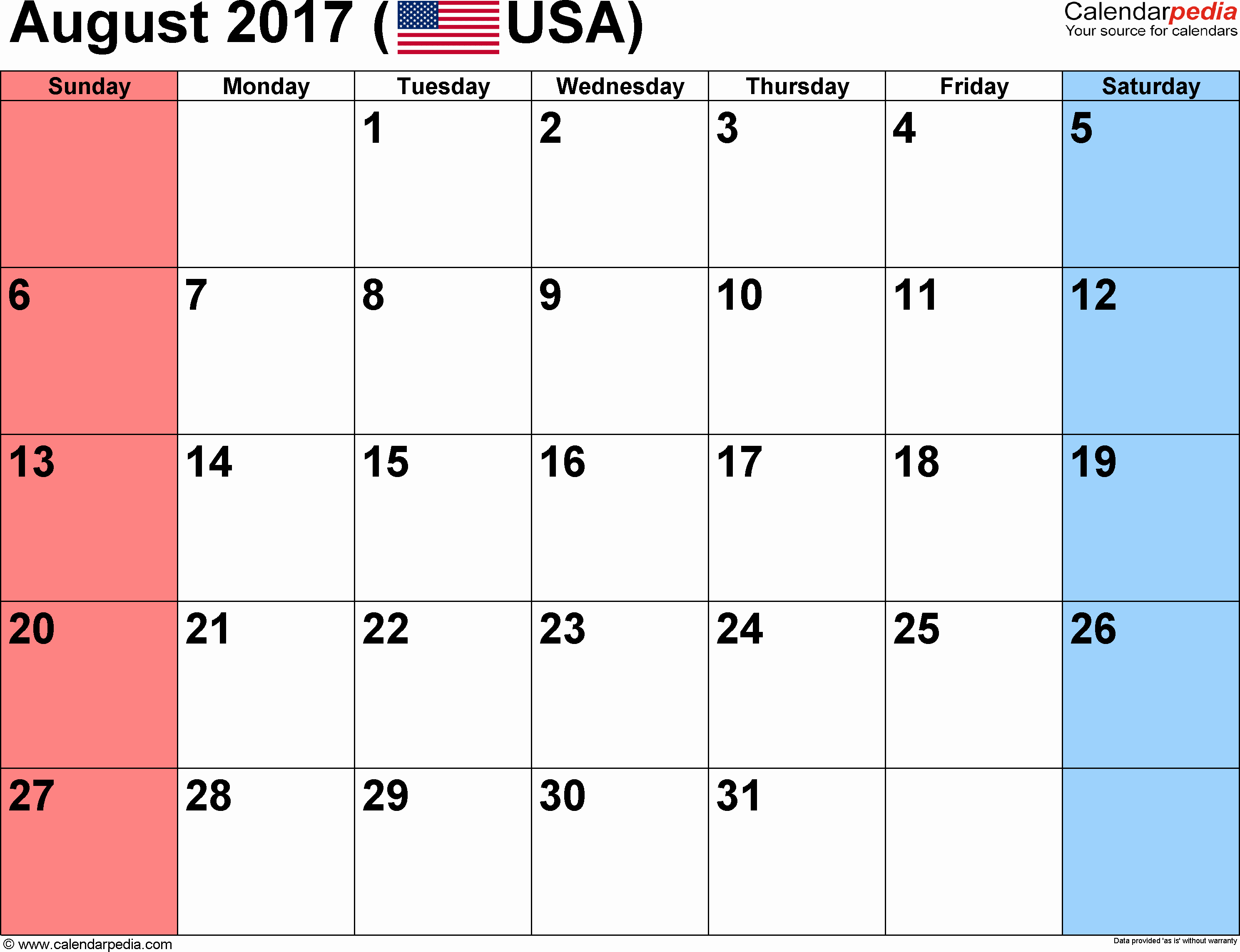 Calendar 2017 Template with Holidays Awesome August 2017 Calendar with Holidays