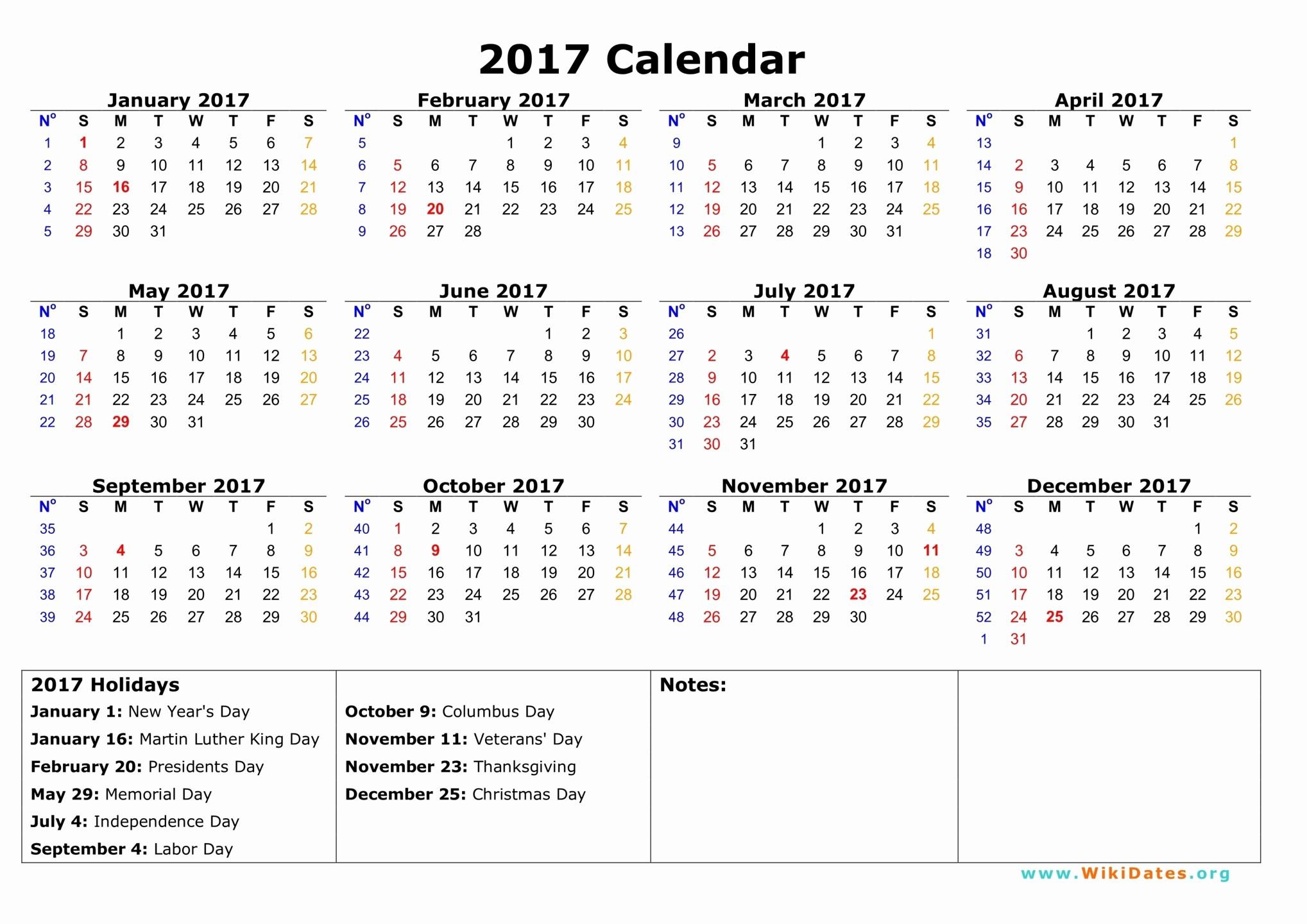 Calendar 2017 Template with Holidays Beautiful 2017 Calendar