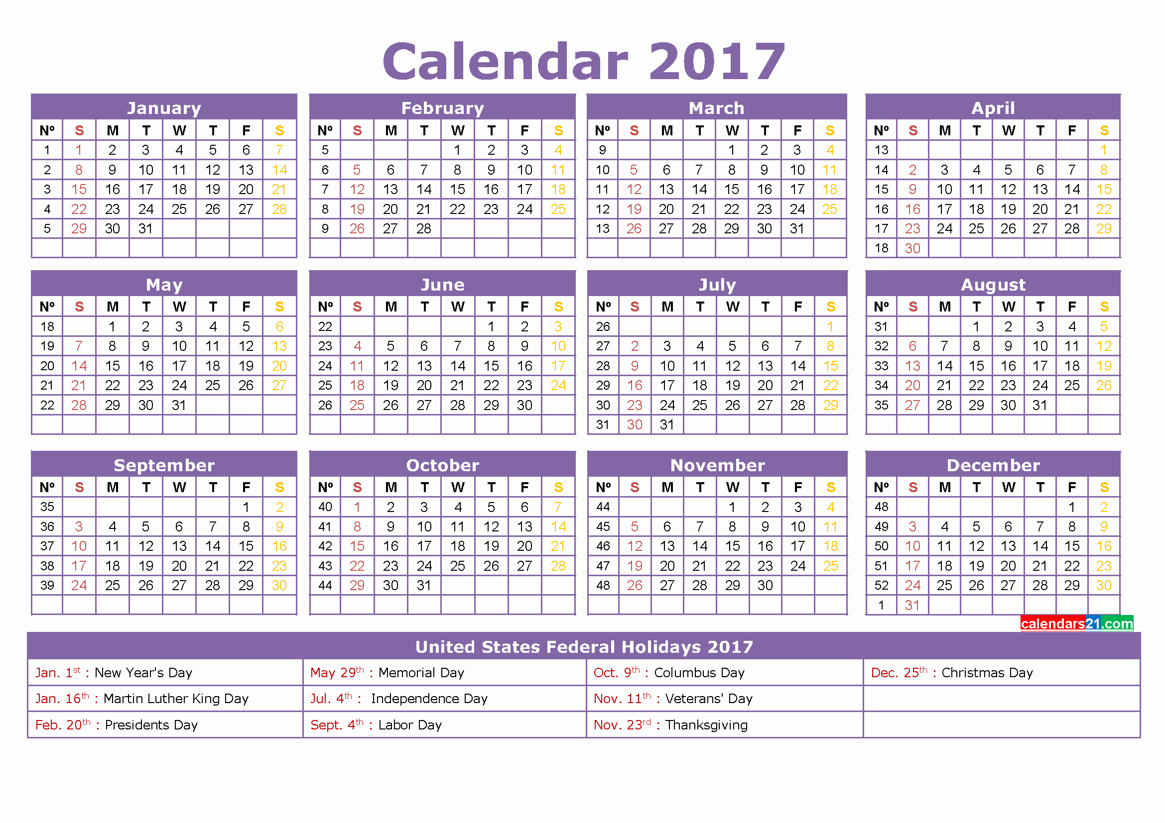 Calendar 2017 Template with Holidays Beautiful Calendar 2017 50 Important Calendar Templates Of 2017