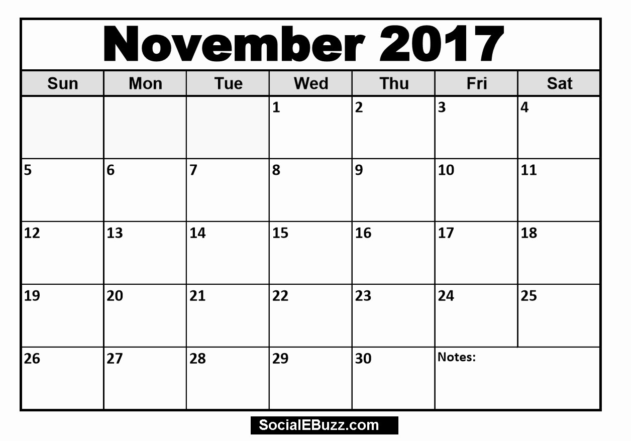 Calendar 2017 Template with Holidays Beautiful November 2017 Calendar Printable