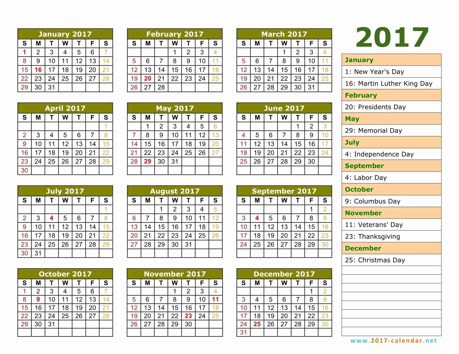 Calendar 2017 Template with Holidays Elegant November 2017 Calendar with Holidays