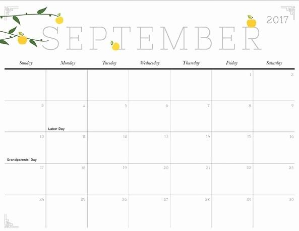 Calendar 2017 Template with Holidays Elegant September 2017 Printable Calendar Template Holidays