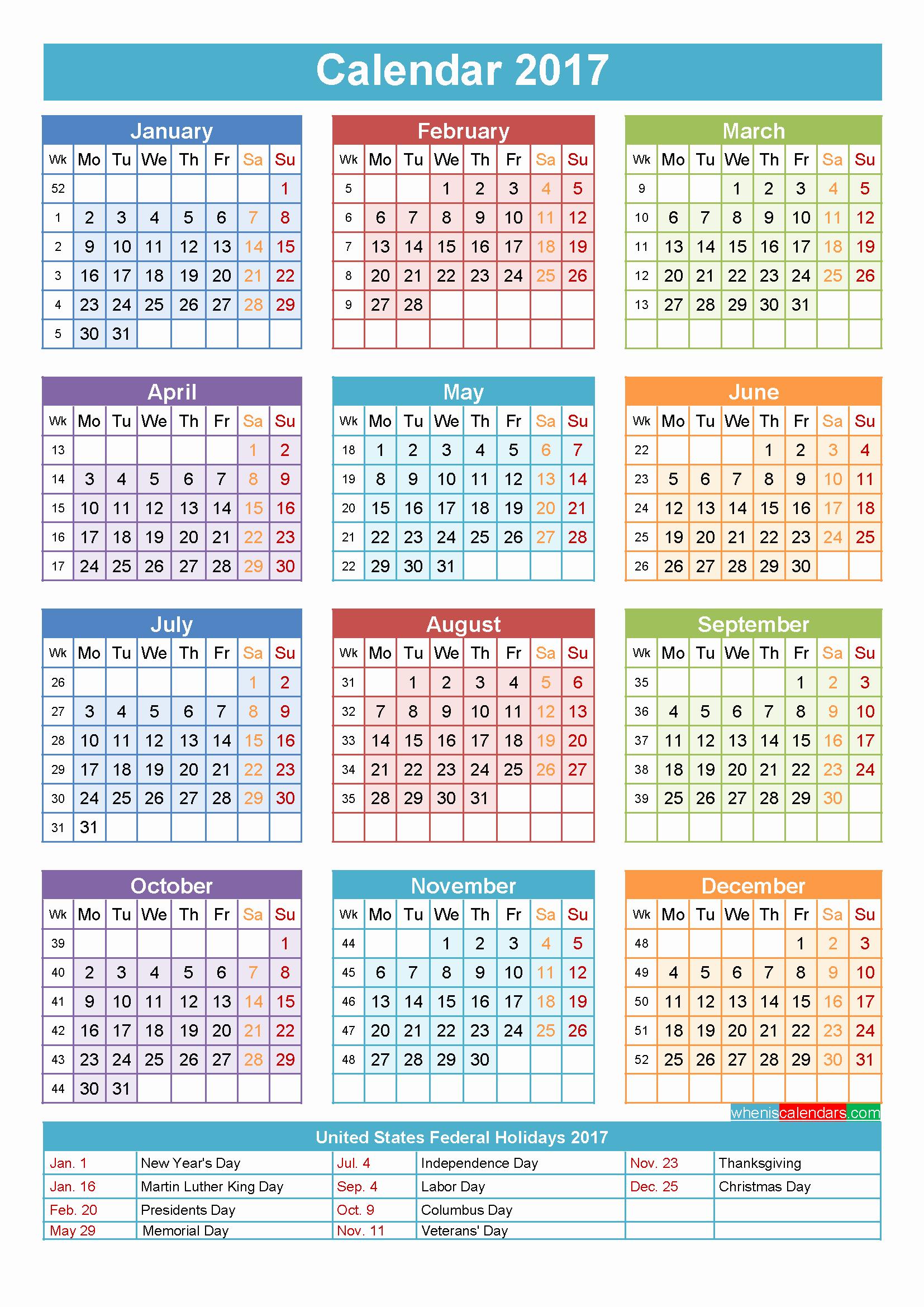 Calendar 2017 Template with Holidays Inspirational 2017 Calendar with Holidays Printable Yearly Calendar
