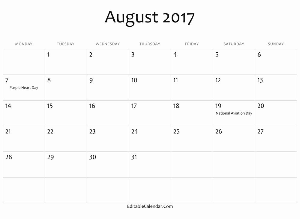 Calendar 2017 Template with Holidays Inspirational August 2017 Calendar with Holidays