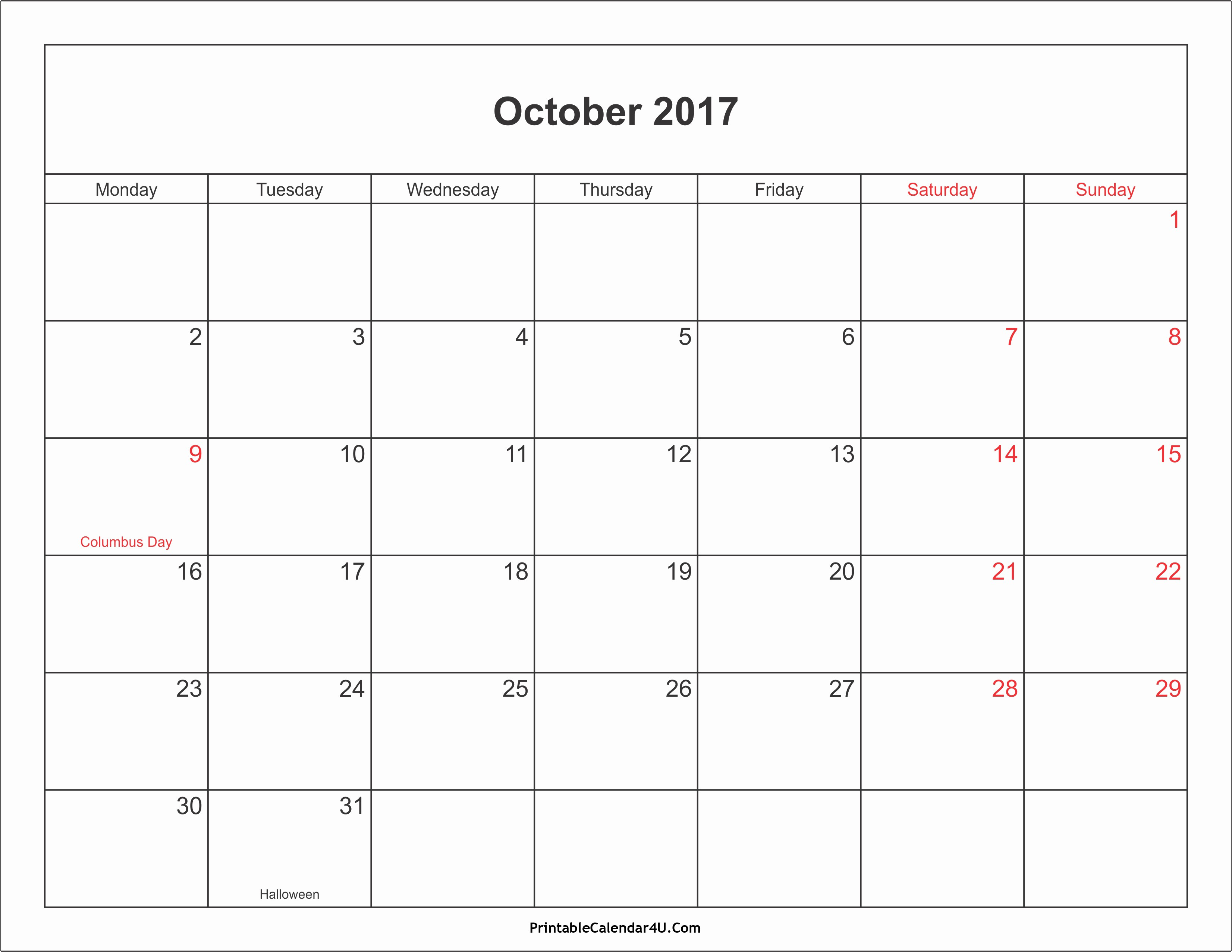 Calendar 2017 Template with Holidays Lovely October 2017 Calendar with Holidays