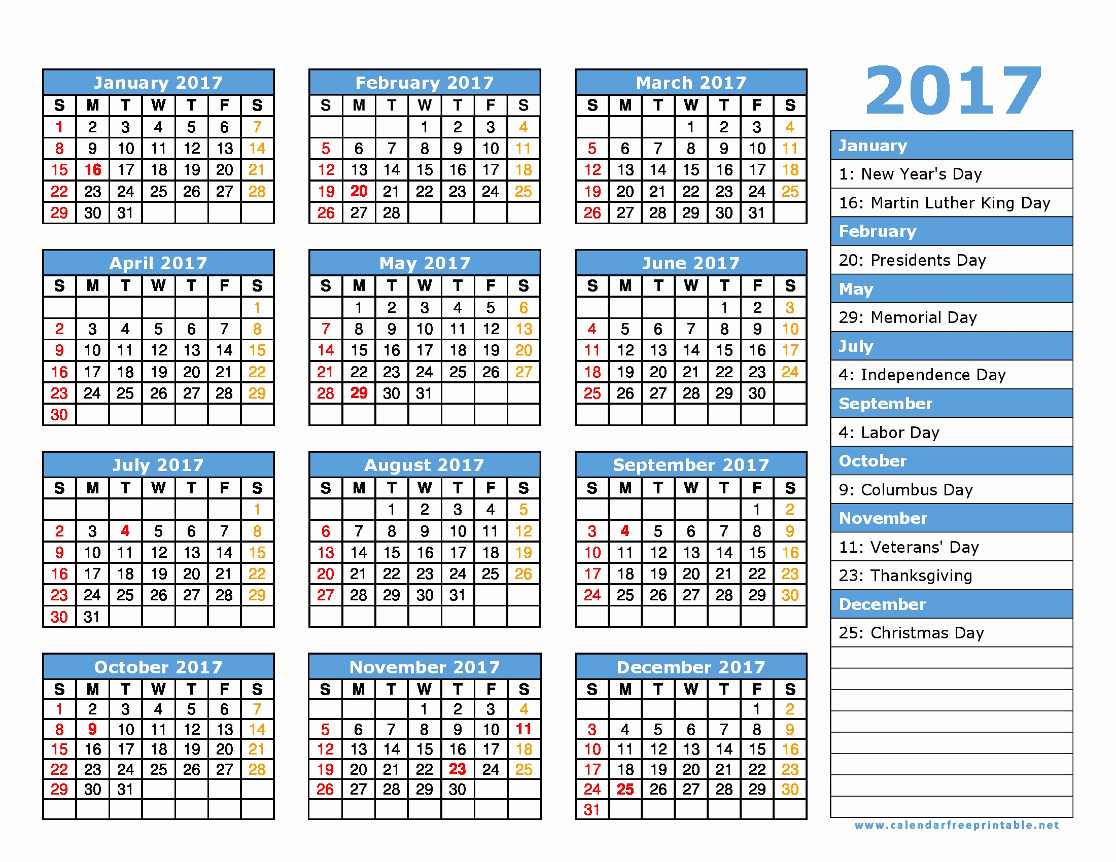 Calendar 2017 Template with Holidays New 2017 Calendar Printable with Holidays