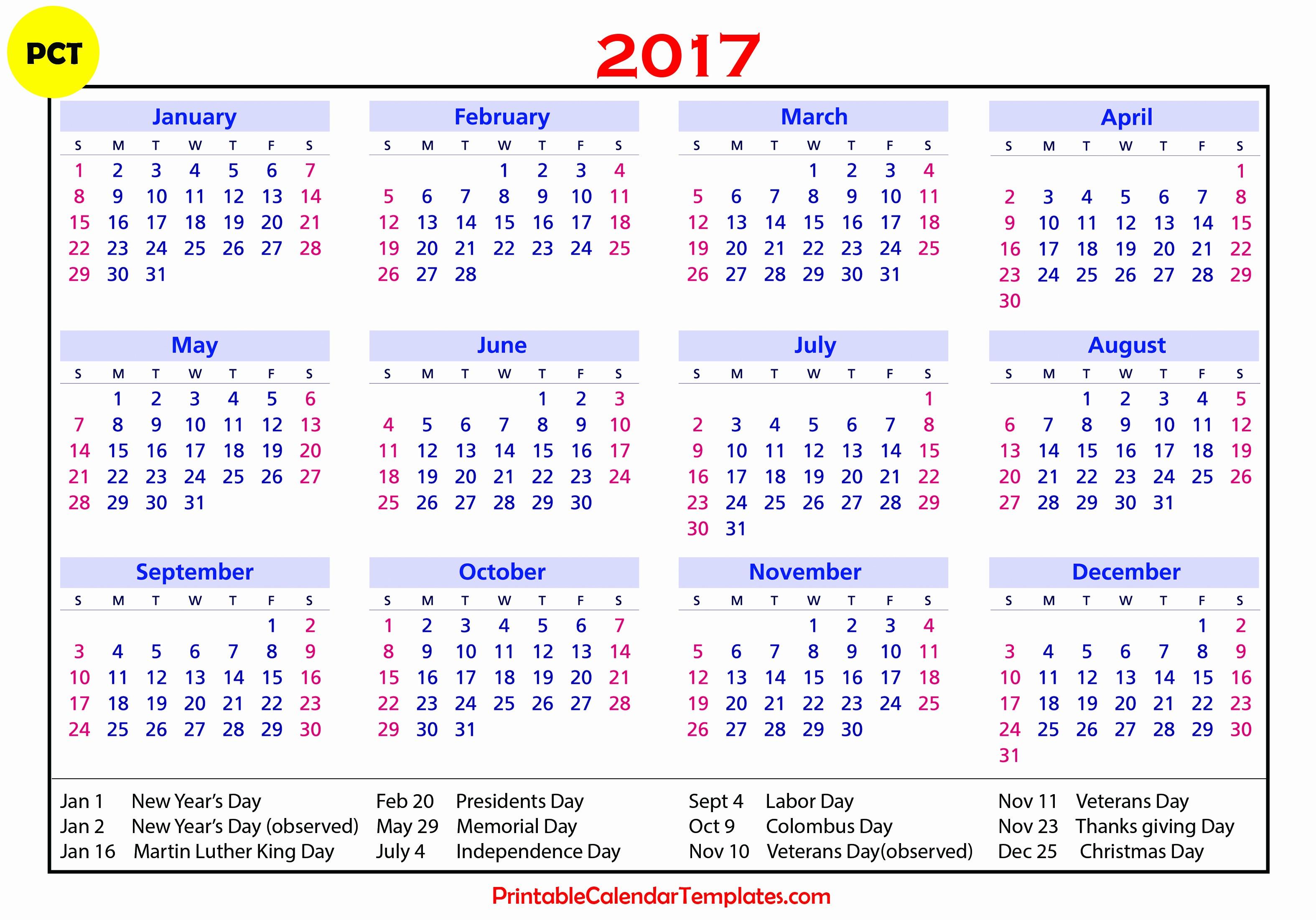 Calendar 2017 Template with Holidays New 2017 Calendar with Holidays