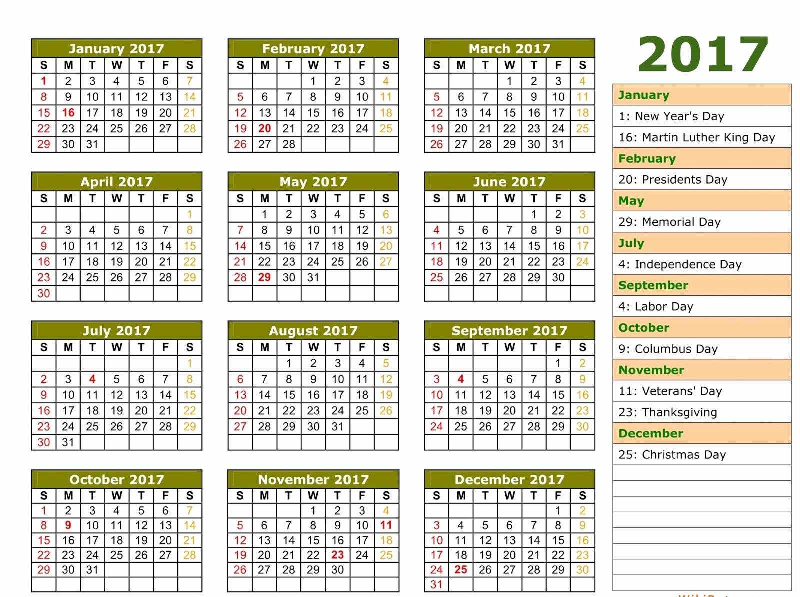 Calendar 2017 Template with Holidays New 2017 Printable Calendar Template Holidays Excel & Word