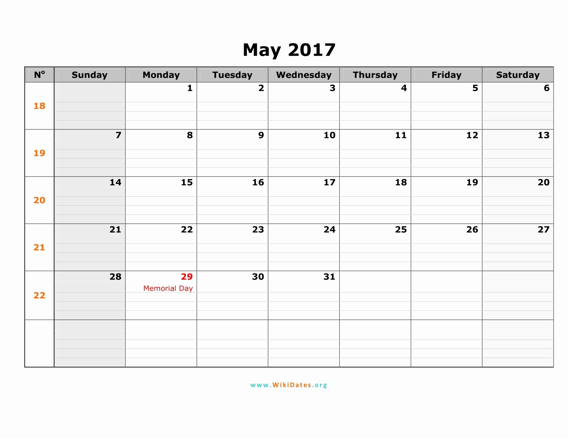 Calendar 2017 Template with Holidays New May 2017 Calendar Printable with Holidays