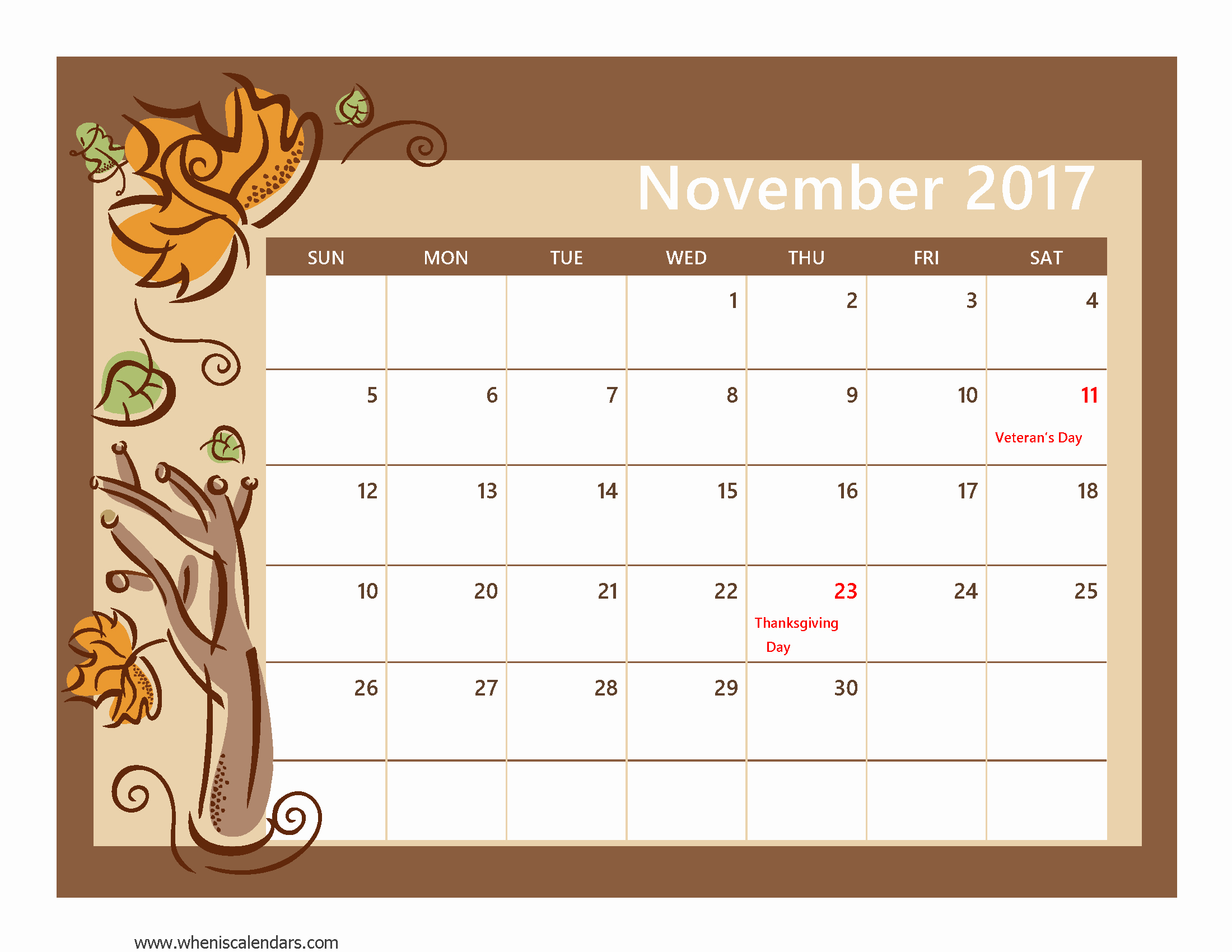 Calendar 2017 Template with Holidays New November 2017 Calendar with Holidays