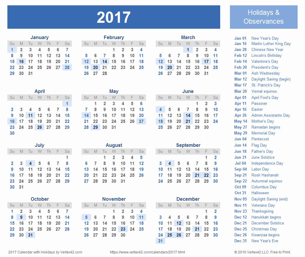 Calendar 2017 Template with Holidays Unique 2017 Calendar Templates and