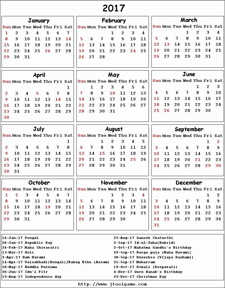 Calendar 2017 Template with Holidays Unique Calendar 2017 50 Important Calendar Templates Of 2017