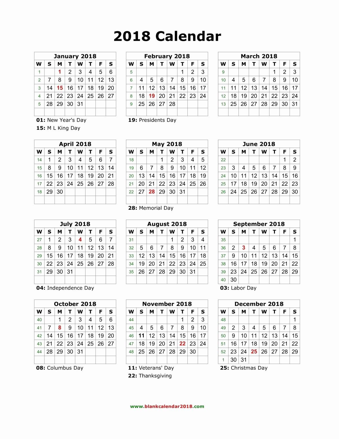 Calendar 2018 Printable with Holidays Awesome Blank Holidays Calendar 2018 Portrait
