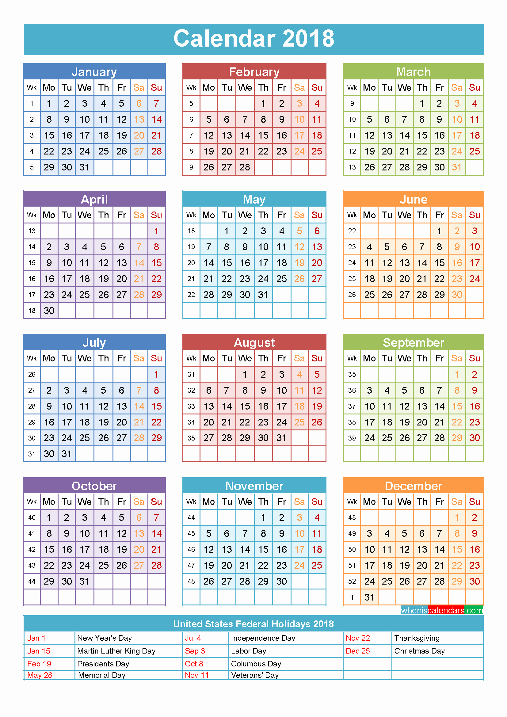 Calendar 2018 Printable with Holidays Beautiful 2018 Calendar with Holidays