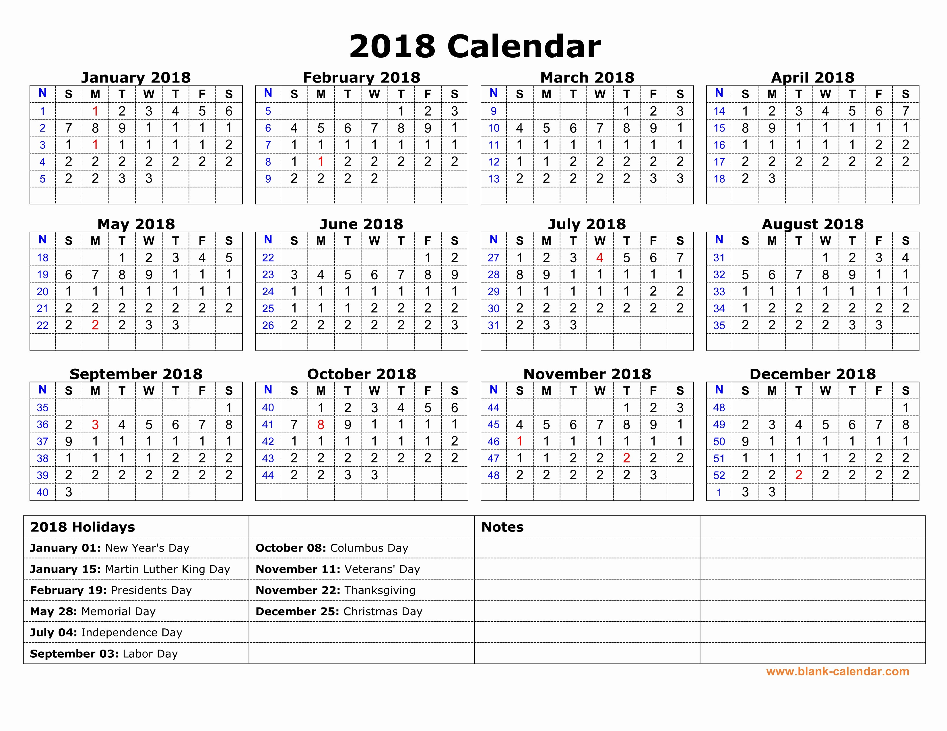 Calendar 2018 Printable with Holidays Beautiful Free Download Printable Calendar 2018 with Us Federal