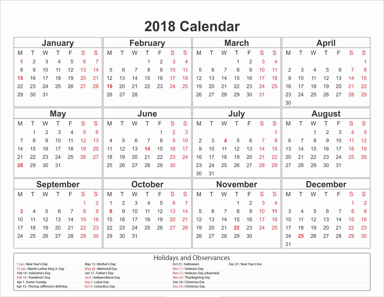 Calendar 2018 Printable with Holidays Beautiful Printable Calendar 2018