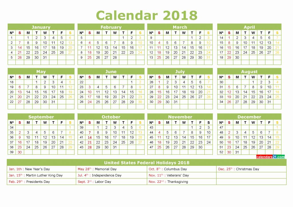 Calendar 2018 Printable with Holidays Beautiful Printable Calendar 2018 with Holidays Full Year 4