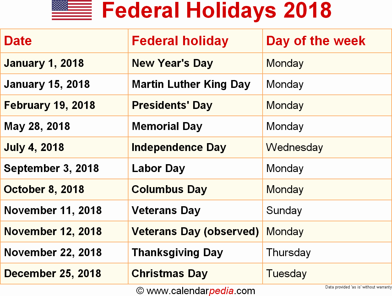Calendar 2018 Printable with Holidays Best Of 2018 Calendar with Holidays