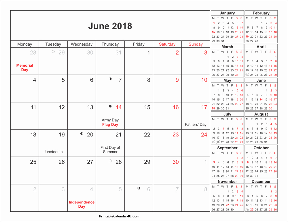 Calendar 2018 Printable with Holidays Best Of June 2018 Calendar Printable with Holidays Pdf and Jpg