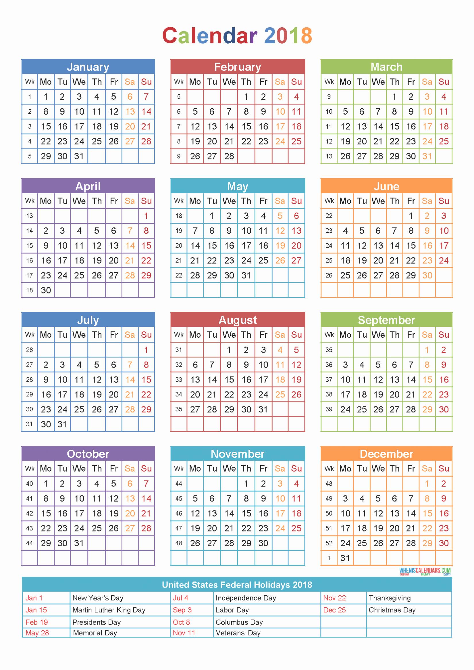 Calendar 2018 Printable with Holidays Elegant 2018 Calendar Printable with Holidays Excel Word Usa