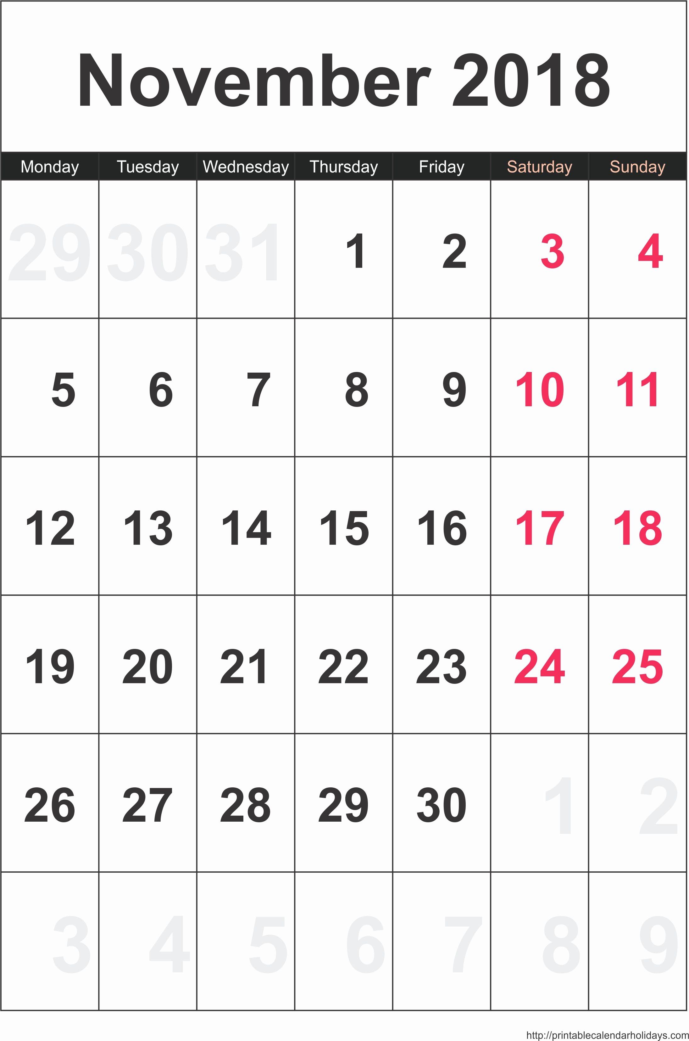 Calendar 2018 Printable with Holidays Elegant November 2018 Calendar Printable with Holidays