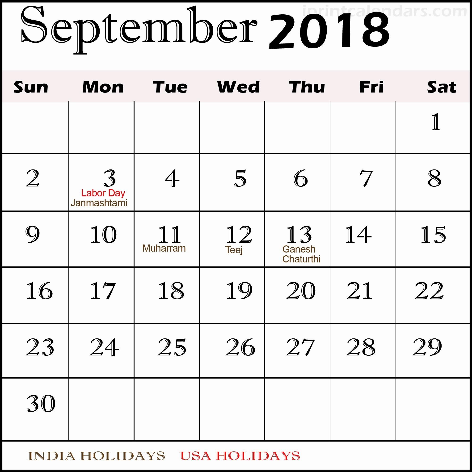 Calendar 2018 Printable with Holidays Elegant September 2018 Calendar with Holidays