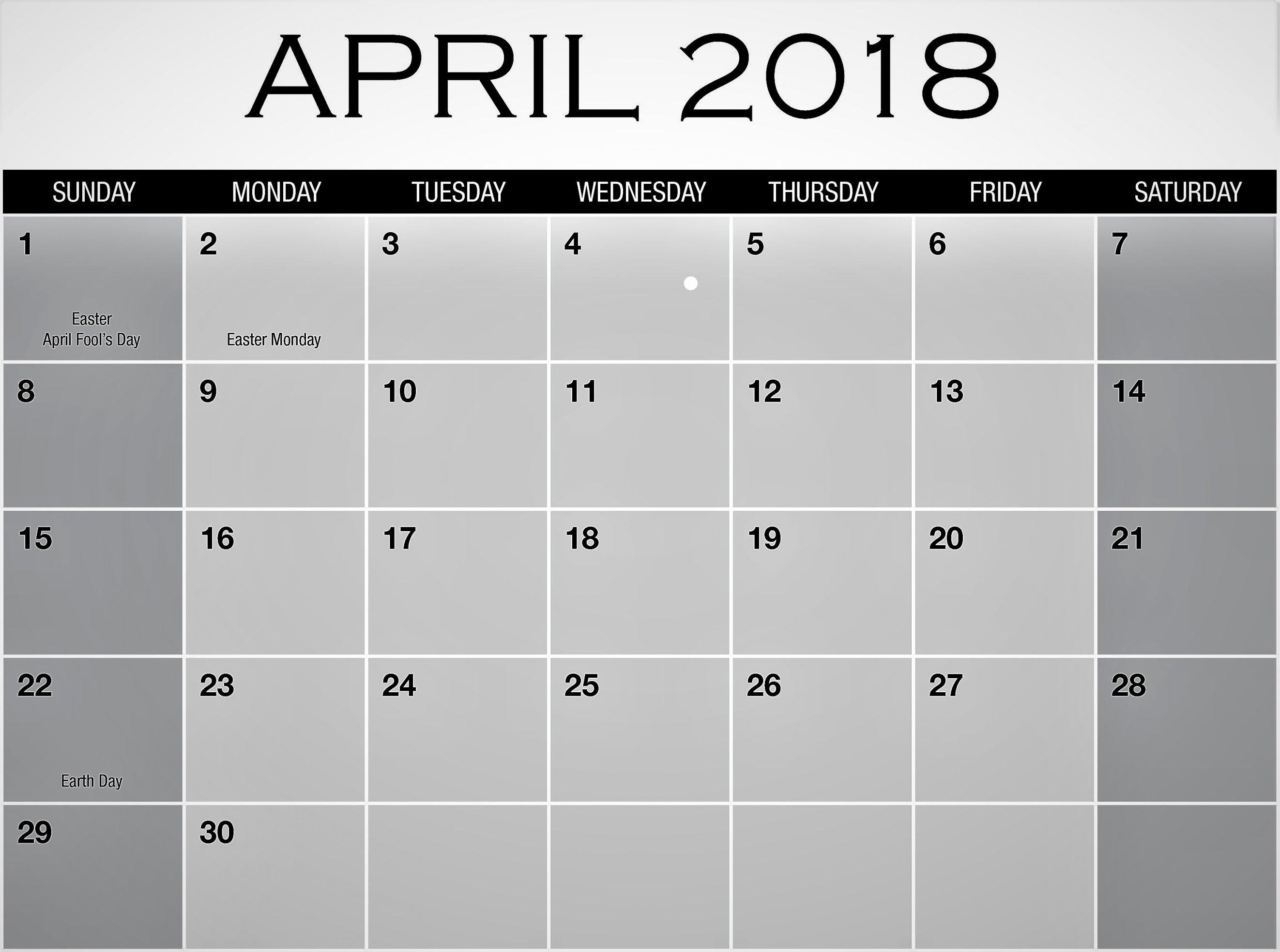 Calendar 2018 Printable with Holidays Fresh April 2018 Calendar with Holidays Printable