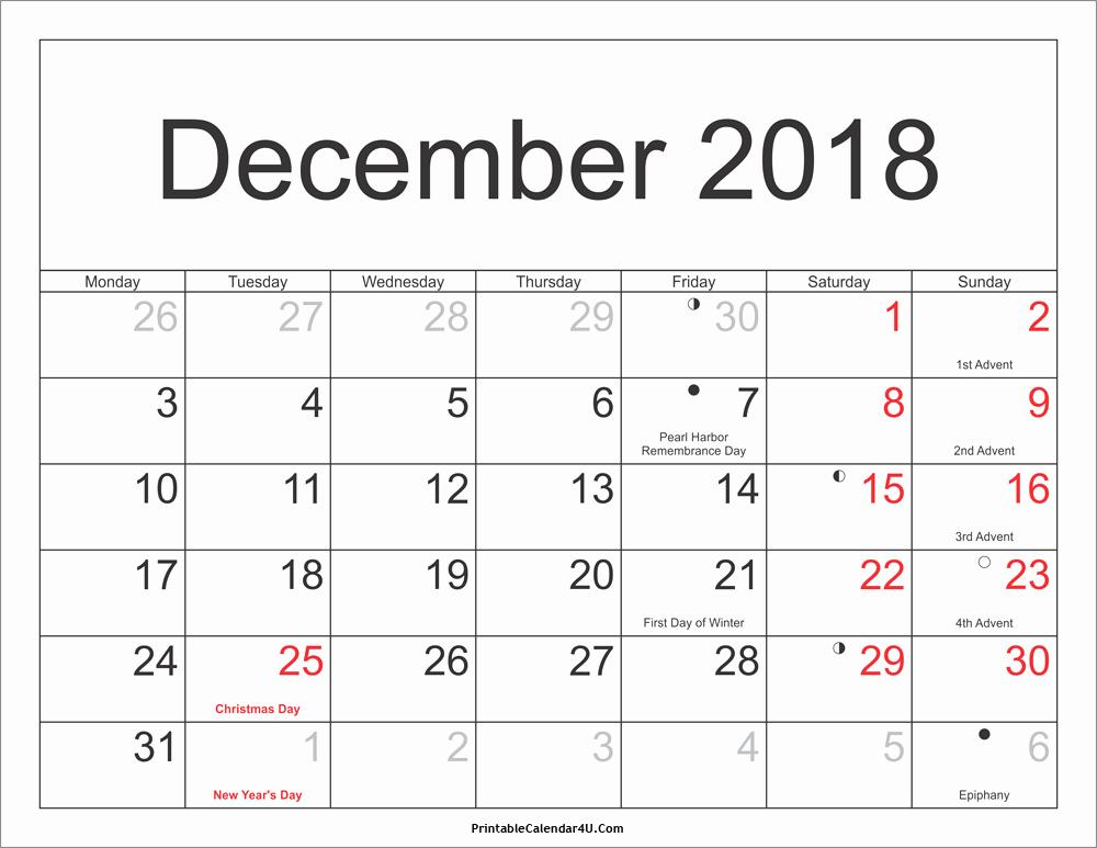 Calendar 2018 Printable with Holidays Fresh December 2018 Calendar Printable with Holidays Pdf and Jpg
