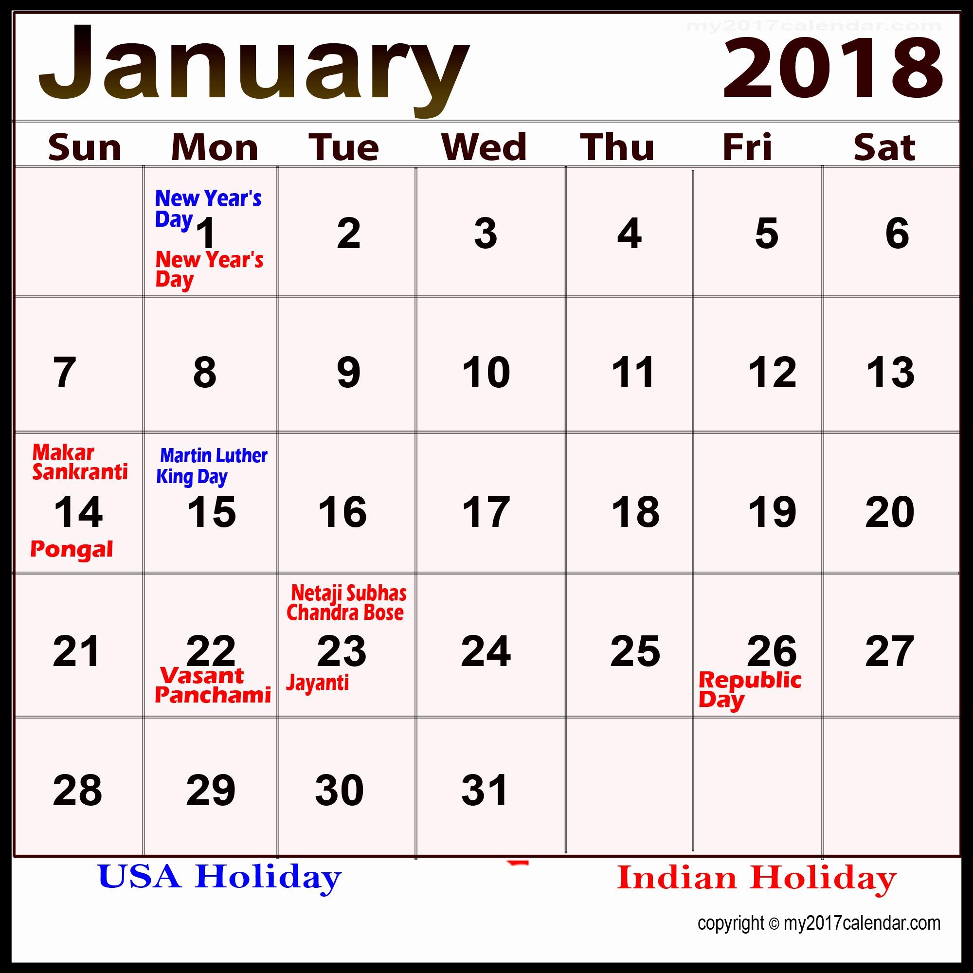 Calendar 2018 Printable with Holidays Inspirational January 2018 Calendar with Holidays Printable