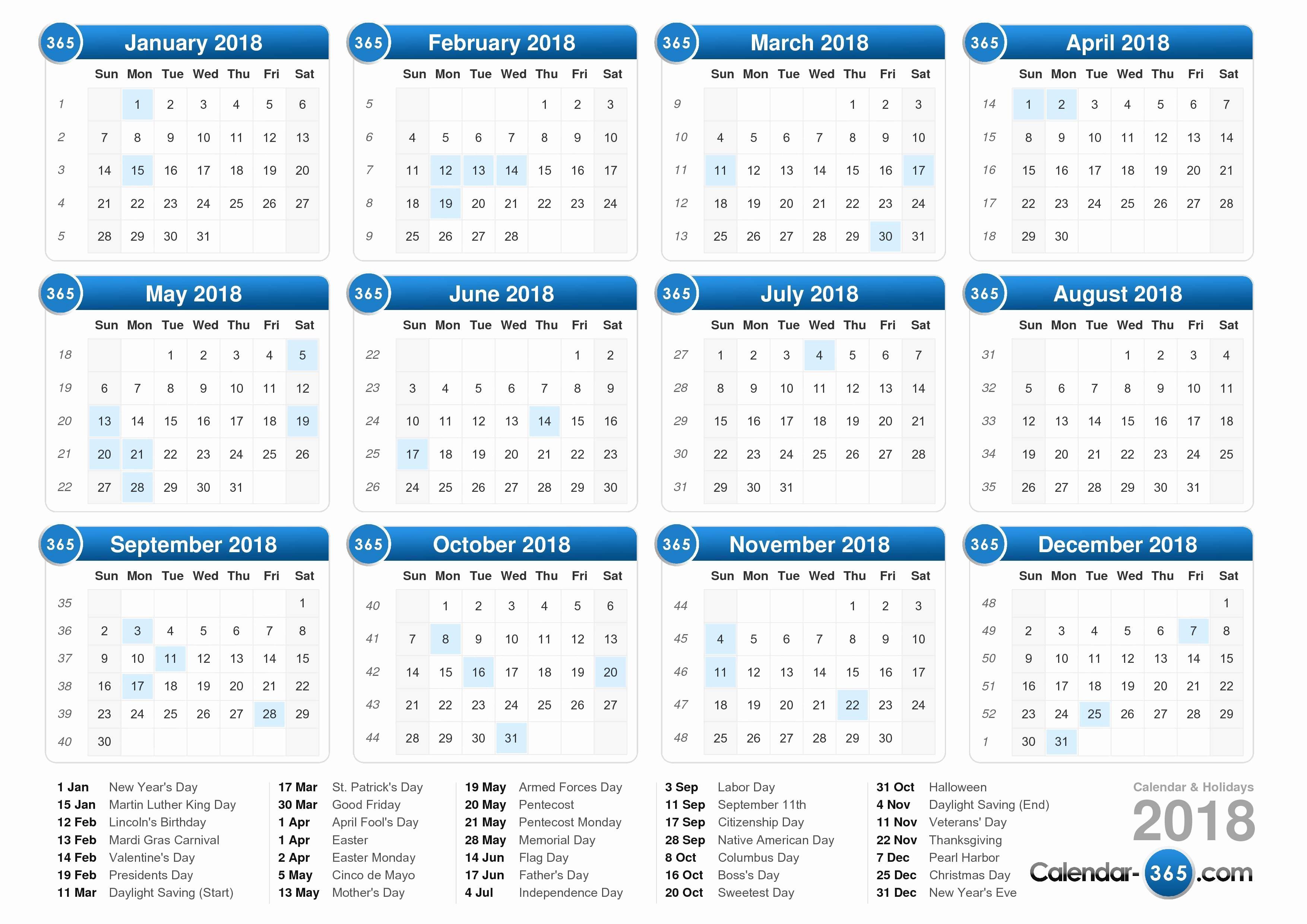 Calendar 2018 Printable with Holidays Lovely 2018 Calendar with Holidays