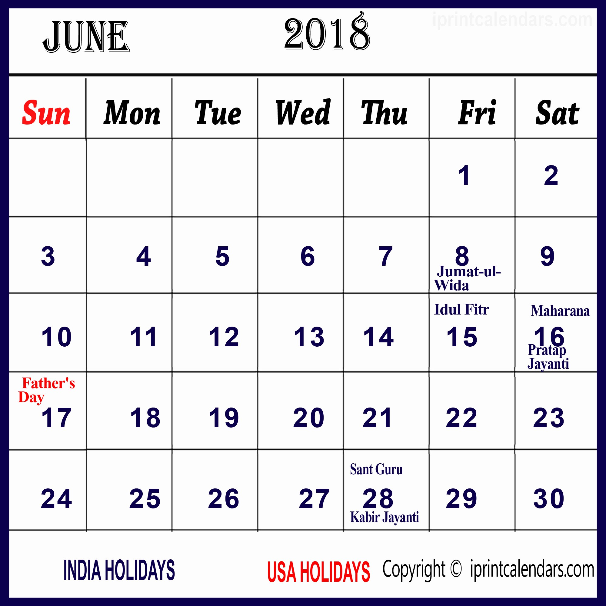 Calendar 2018 Printable with Holidays Lovely June 2018 Calendar with Holidays