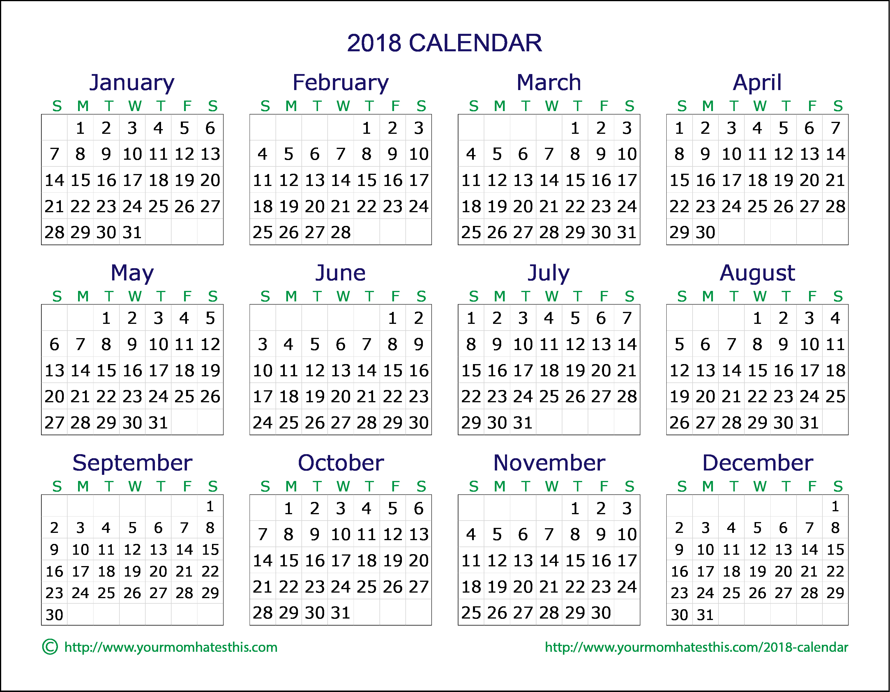 Calendar 2018 Printable with Holidays Luxury 2018 Calendar – Download Quality Calendars